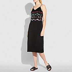 ZIGZAG EMBELLISHED SLIP DRESS - BLACK - COACH 26379
