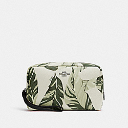 BOXY COSMETIC CASE WITH BANANA LEAVES PRINT - SV/CARGO GREEN CHALK MULTI - COACH 2638