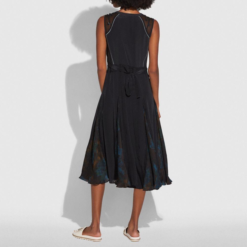 Coach Sleeveless Pleated Dress Alternate View 2