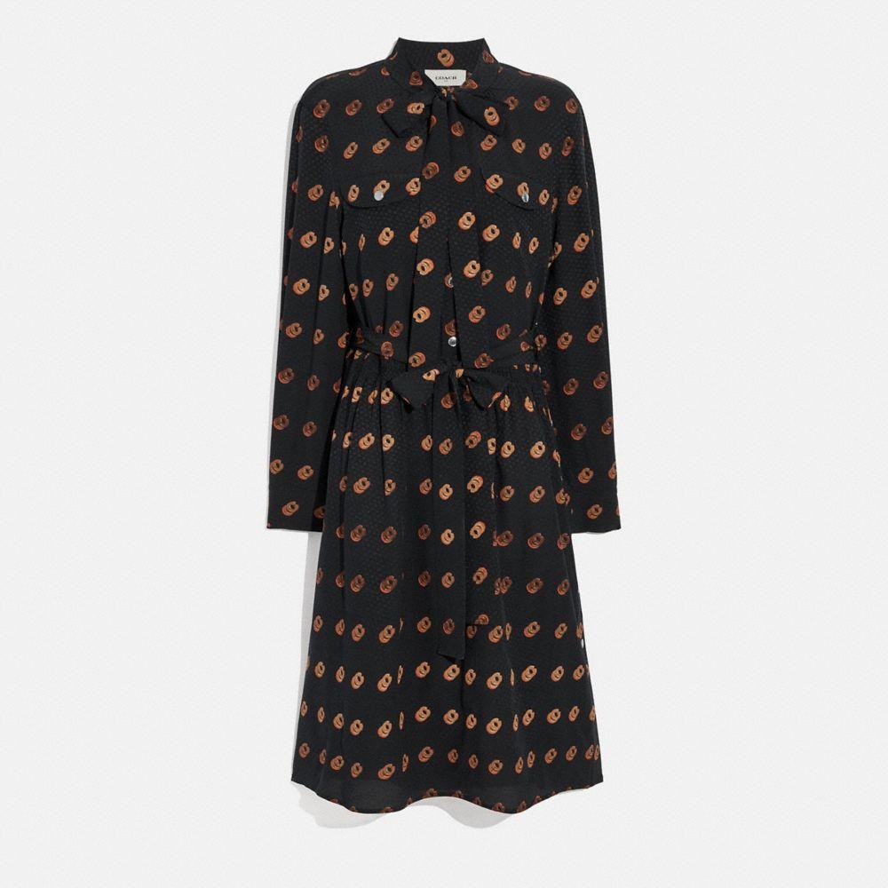 프린트 타이 넥 드레스