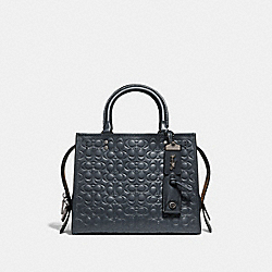ROGUE 25 IN SIGNATURE LEATHER WITH FLORAL BOW PRINT INTERIOR - BP/MIDNIGHT NAVY - COACH 26839