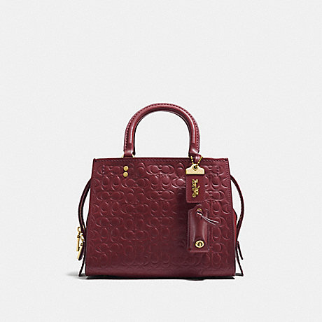 COACH ROGUE 25 IN SIGNATURE LEATHER WITH FLORAL BOW PRINT INTERIOR - OL/BORDEAUX - 26839
