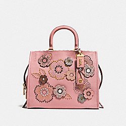 ROGUE WITH SNAKESKIN TEA ROSE RIVETS - OL/PEONY - COACH 26890