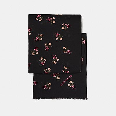 花卉領結印花圍巾