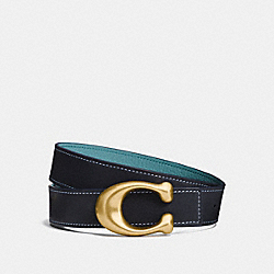 SCULPTED SIGNATURE REVERSIBLE BELT - MIDNIGHT NAVY/MARINE - COACH 27099