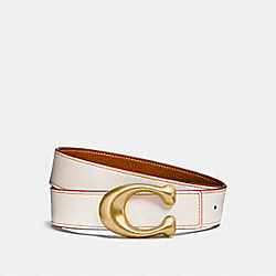 SCULPTED SIGNATURE REVERSIBLE BELT - CHALK/1941 SADDLE - COACH 27099