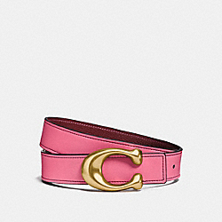 SCULPTED SIGNATURE REVERSIBLE BELT - BRIGHT PINK/WINE - COACH 27099P