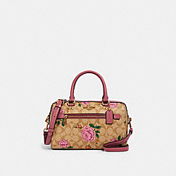 ROWAN SATCHEL IN SIGNATURE CANVAS WITH PRAIRIE ROSE PRINT - IM/LIGHT KHAKI PINK PINK MULTI - COACH 2717