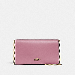 CALLIE FOLDOVER CHAIN CLUTCH - ROSE/BRASS - COACH 27247