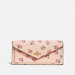 SOFT WALLET WITH FLORAL BLOOM PRINT - BEECHWOOD FLORAL BLOOM/LIGHT GOLD - COACH 27280