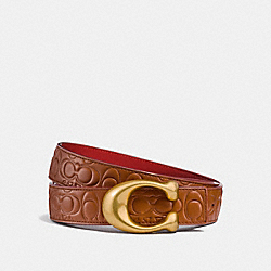 SIGNATURE BUCKLE REVERSIBLE BELT, 32MM - 1941 SADDLE/1941 RED - COACH 27292