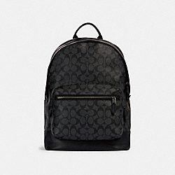 WEST BACKPACK IN SIGNATURE CANVAS - QB/CHARCOAL BLACK - COACH 2736