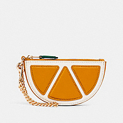 ORANGE SLICE POUCH BAG CHARM - IM/ORANGE - COACH 2762