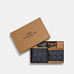 BOXED 3-IN-1 WALLET GIFT SET WITH CHECK GEO PRINT - QB/NAVY - COACH 2826