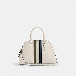 KATY SATCHEL WITH VARSITY STRIPE - SV/CHALK PALE GREEN MULTI - COACH 2839