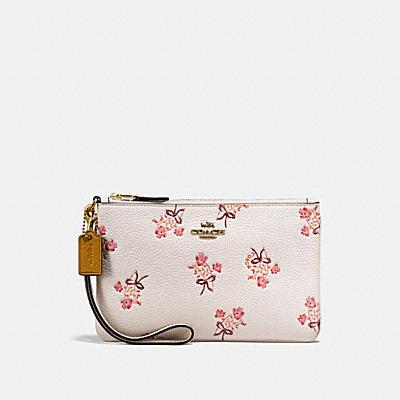 花卉領結印花小型手腕包