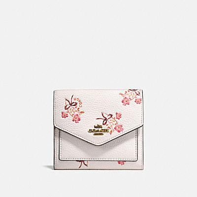 花卉領結印花小型皮夾