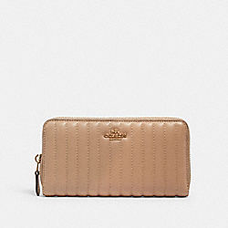 ACCORDION ZIP WALLET WITH LINEAR QUILTING - IM/TAUPE - COACH 2855