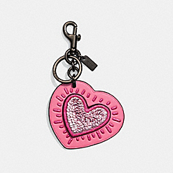 COACH X KEITH HARING BAG CHARM - BRIGHT PINK/BLACK - COACH 28588