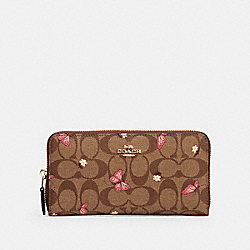 ACCORDION ZIP WALLET IN SIGNATURE CANVAS WITH BUTTERFLY PRINT - IM/KHAKI PINK MULTI - COACH 2858