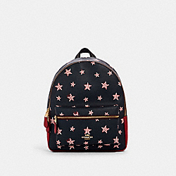 MEDIUM CHARLIE BACKPACK WITH AMERICANA STAR PRINT - IM/NAVY/ RED MULTI - COACH 2865