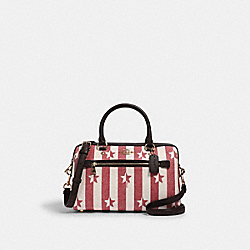 ROWAN SATCHEL WITH STRIPE STAR PRINT - IM/CHALK/ RED MULTI - COACH 2866