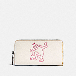COACH X KEITH HARING ACCORDION ZIP WALLET - CHALK/BLACK COPPER - COACH 28677