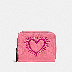 COACH X KEITH HARING SMALL ZIP AROUND WALLET - BP/BRIGHT PINK - COACH 28679