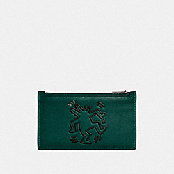 COACH X KEITH HARING ZIP CARD CASE - EMERALD DANCING DOG - COACH 28719