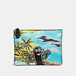 COACH X KEITH HARING POUCH - HAWAIIAN BLUE SAUSAGE MAN - COACH 28731