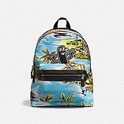 COACH X KEITH HARING ACADEMY BACKPACK - HAWAIIAN - BLUE/BLACK COPPER FINISH - COACH 28754