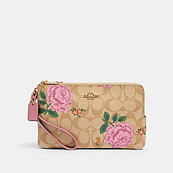 DOUBLE ZIP WALLET IN SIGNATURE CANVAS WITH PRAIRIE ROSE PRINT - IM/KHAKI MULTI - COACH 2875