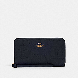 LARGE PHONE WALLET IN SIGNATURE LEATHER - IM/MIDNIGHT - COACH 2876