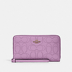 LARGE PHONE WALLET IN SIGNATURE LEATHER - IM/VIOLET ORCHID - COACH 2876