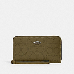 LARGE PHONE WALLET IN SIGNATURE LEATHER - QB/KELP - COACH 2876