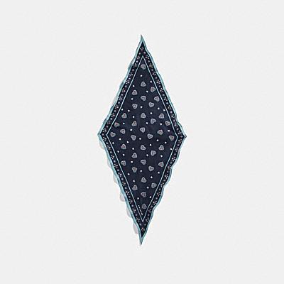 西部風格心形印花絲質菱形圍巾