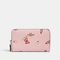 MEDIUM ZIP AROUND WALLET WITH BUTTERFLY PRINT - IM/BLOSSOM/ PINK MULTI - COACH 2882