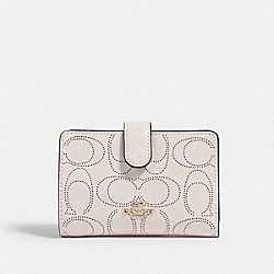 MEDIUM CORNER ZIP WALLET IN SIGNATURE LEATHER - IM/CHALK - COACH 2884