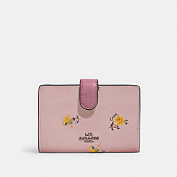 MEDIUM CORNER ZIP WALLET WITH DANDELION FLORAL PRINT - SV/BLOSSOM MULTI - COACH 2885