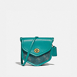TURNLOCK FLAP POUCH 15 WITH HORSE AND CARRIAGE PRINT - B4/TEAL BLUE - COACH 2891
