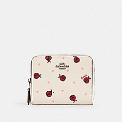 SMALL ZIP AROUND WALLET WITH LADYBUG PRINT - SV/CHALK/ RED MULTI - COACH 2913