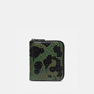 WILD BEAST 印花釘飾小型拉鍊皮夾