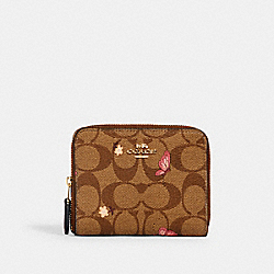SMALL ZIP AROUND WALLET IN SIGNATURE CANVAS WITH BUTTERFLY PRINT - IM/KHAKI PINK MULTI - COACH 2915