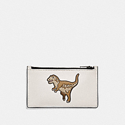 ZIP CARD CASE WITH MASCOT - REXY CHALK - COACH 29184
