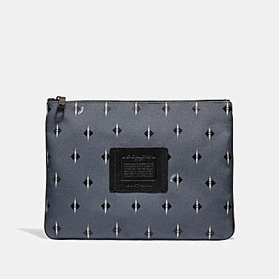 LARGE MULTIFUNCTIONAL POUCH WITH IKAT GEO PRINT