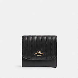 SMALL WALLET WITH LINEAR QUILTING - IM/BLACK - COACH 2919