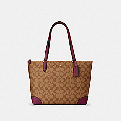 ZIP TOP TOTE IN SIGNATURE CANVAS - IM/KHAKI DARK BERRY - COACH 29208