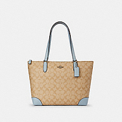 ZIP TOP TOTE IN SIGNATURE CANVAS - SV/LIGHT KHAKI PALE BLUE - COACH 29208
