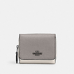 SMALL TRIFOLD WALLET IN COLORBLOCK - SV/HEATHER GREY MULTI - COACH 2923