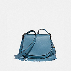 SADDLE 23 WITH FRINGE - CHAMBRAY/BLACK COPPER - COACH 29240